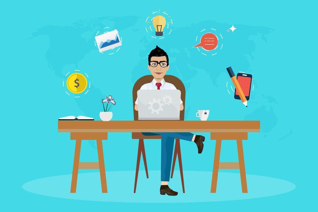 travailleur indépendant imaginant les avantages d'un site internet